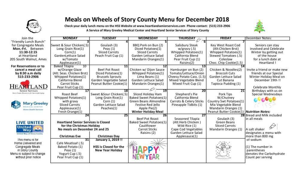 thumbnail of December 2018 menu